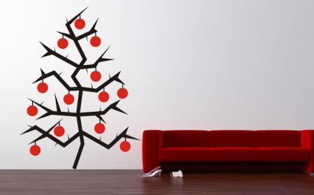 vinilo decorativo arbol de navidad con bolas de color