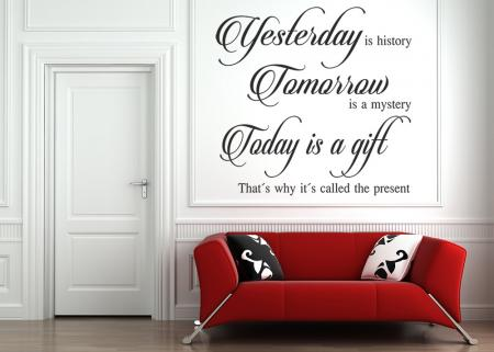 vinilo_decorativo_Yesterday_is_history_texto