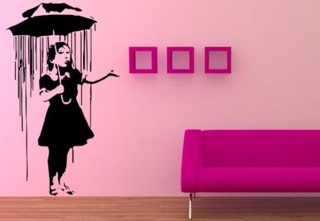 vinilo decorativo Girl under umbrella Banksy