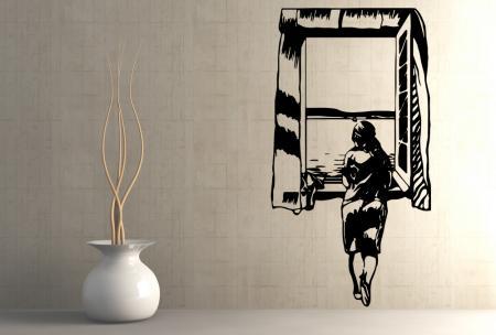 vinilo_decorativo_Chica_en_la_ventana_de_Dali