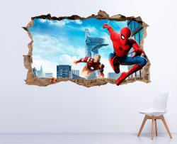 Vinilo decorativo Spiderman Iron Man 3D trampantojo