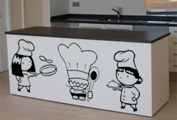 Decoración en Vinilo cocina Tres cocineros