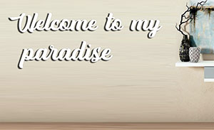 Texto decorativo 3D Welcome to my paradise