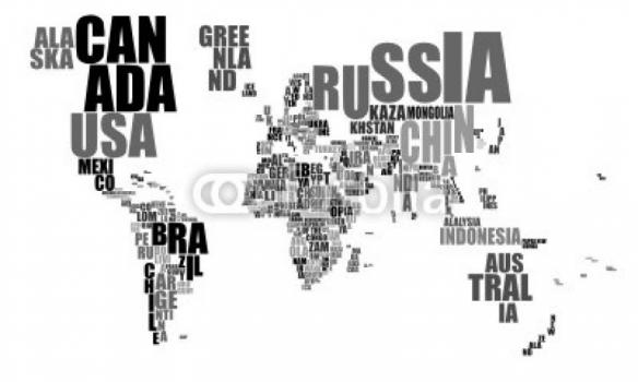 Cuadro mapa letras blanco y negro 100 a medida - Papel pintado mapa del mundo ...