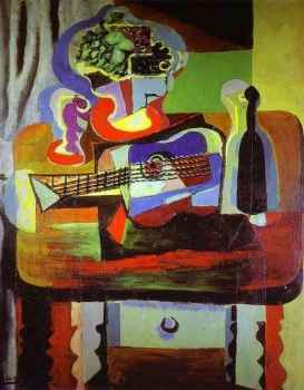 Pablo_Picasso_-_Guitar,_Bottle,_Bowl_with_Fruit,_and_Glass_on_Table.JPG
