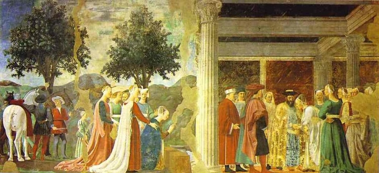 Piero_della_Francesca_-_Legend_of_the_True_Cross;_Adoration_of_the_Wood_and_the_Queen_of_Sheba_Meeting_wit.JPG