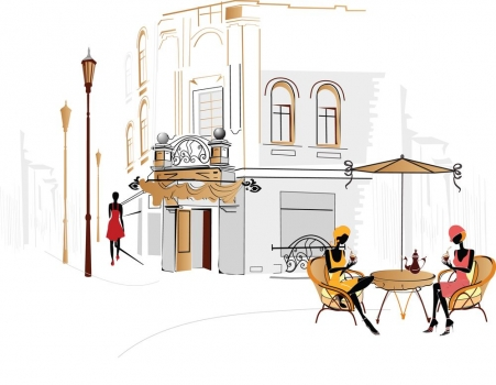 Foto mural siluetas tomando cafe alimentos - Muebles sanchez antequera ...