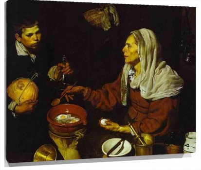 Lienzo Old Woman Frying Eggs