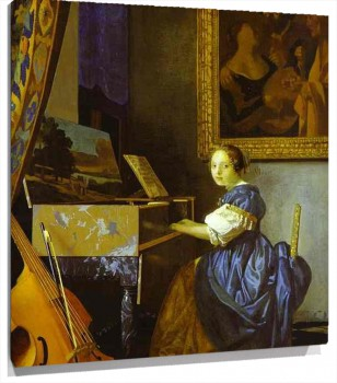 Lienzo Lady Seated at a Virginal