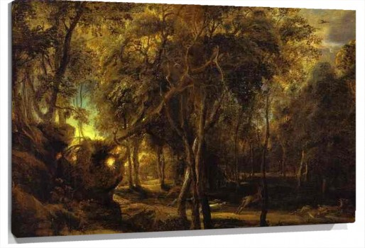 Lienzo A Forest at Dawn with a Deer Hunt