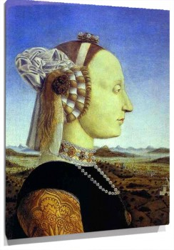 Lienzo  Diptych Portraits of Federico da Montefeltro, Duke of Urbino, and his Wife, Batista Sforza