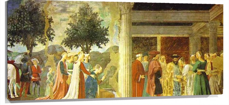Lienzo Legend of the True Cross Adoration of the Wood and the Queen of Sheba Meeting wit
