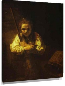 Lienzo A Girl with a Broom