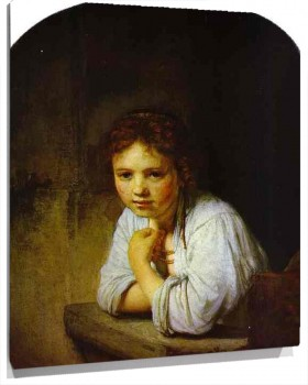 Lienzo A Young Girl Leaning on a Window