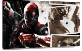 Lienzo Collage De Escenas De Dead pool
