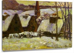 Murales Breton Village In Snow