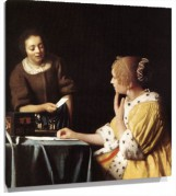 Lienzo Lady with Her Maid Servant Holding a Letter