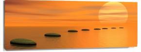 Lienzo Piedras en agua naranja