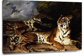 Miniatura A Young Tiger Playing With Its Mother De Eugene delacroix