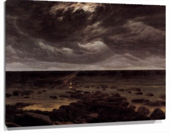 Lienzo  Seashore With Ship Wreck By Moonlight De Caspar David Friedrich