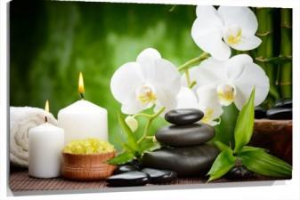 Lienzo Flores, velas y piedras
