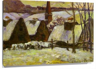 Lienzo Breton Village In Snow