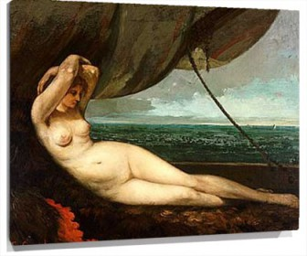 Lienzo Nude reclining by the sea