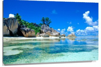 Lienzo Playa rocas al fondo