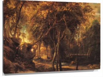Lienzo A Forest at Dawn with Deer Hunt