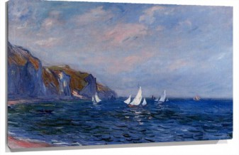 Lienzo cliffs and sailboats at pourville
