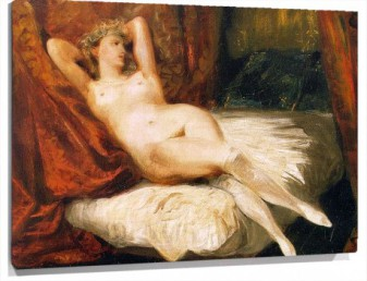 Lienzo female nude reclining on a divan
