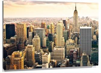 Lienzo Nueva york vista aerea atardecer