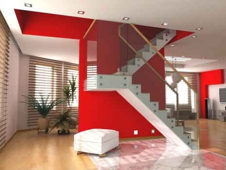 Cuadro escaleras pared roja 100 a medida for Cuadros para escaleras