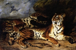Murales A Young Tiger Playing With Its Mother De Eugene delacroix
