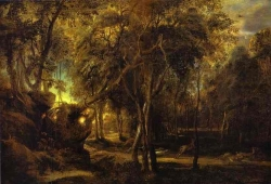 Murales A Forest at Dawn with a Deer Hunt