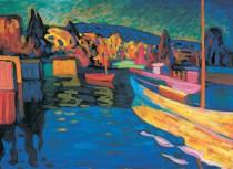 Murales Herbstlandschaft Mit Booten 1908 De Vassily kandinsky