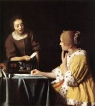 Murales Lady with Her Maid Servant Holding a Letter
