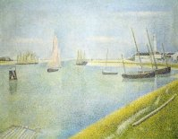 Murales The channel at Gravelines, in the direction of the sea