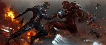 Murales Capitan America vs Ironman en civil war