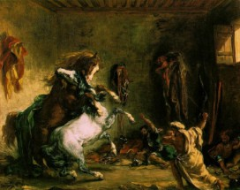 Murales Lotta dei cavalli arabi