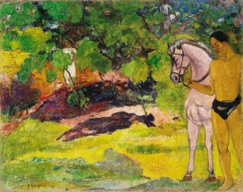 Murales In the vanilla grove, man and horse