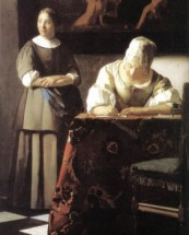 Murales Lady Writing a Letter with Her Maid