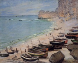 Murales boats on the beach etretat