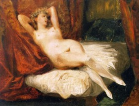 Murales female nude reclining on a divan